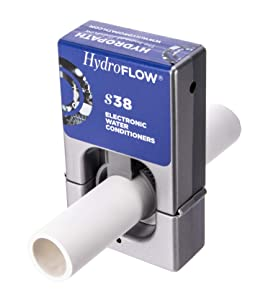 """HydroFLOW S38   Eco Friendly Alternative To Salt Water Softeners  Descaler For Standard Size Homes, Commercial Kitchens & Steamers   Fits Pipes Up To 1.5"""" Outer Diameter"""