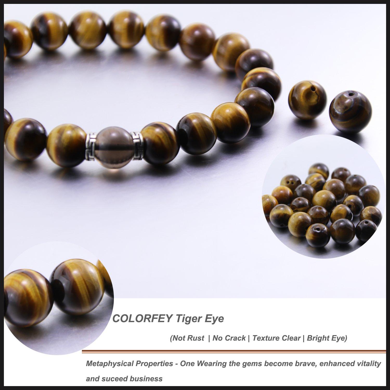 COLORFEY Tiger Eye Bracelet 10mm Real Stone Chakra Healing Bracelet for Men