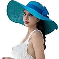 Elonglin Straw Sunhat for Women Foldable Large Brim Summer Beach Outdoor Sun Hat Ribbon Bow Anti-UV Protection