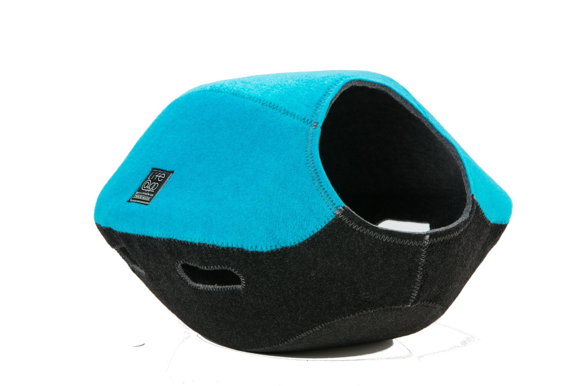 Life@pp 2 in 1 Cat Cave Bed Pet Bowl-Shaped Bed Mat Hand-Made Nest Comfortable Cozy (Blue)