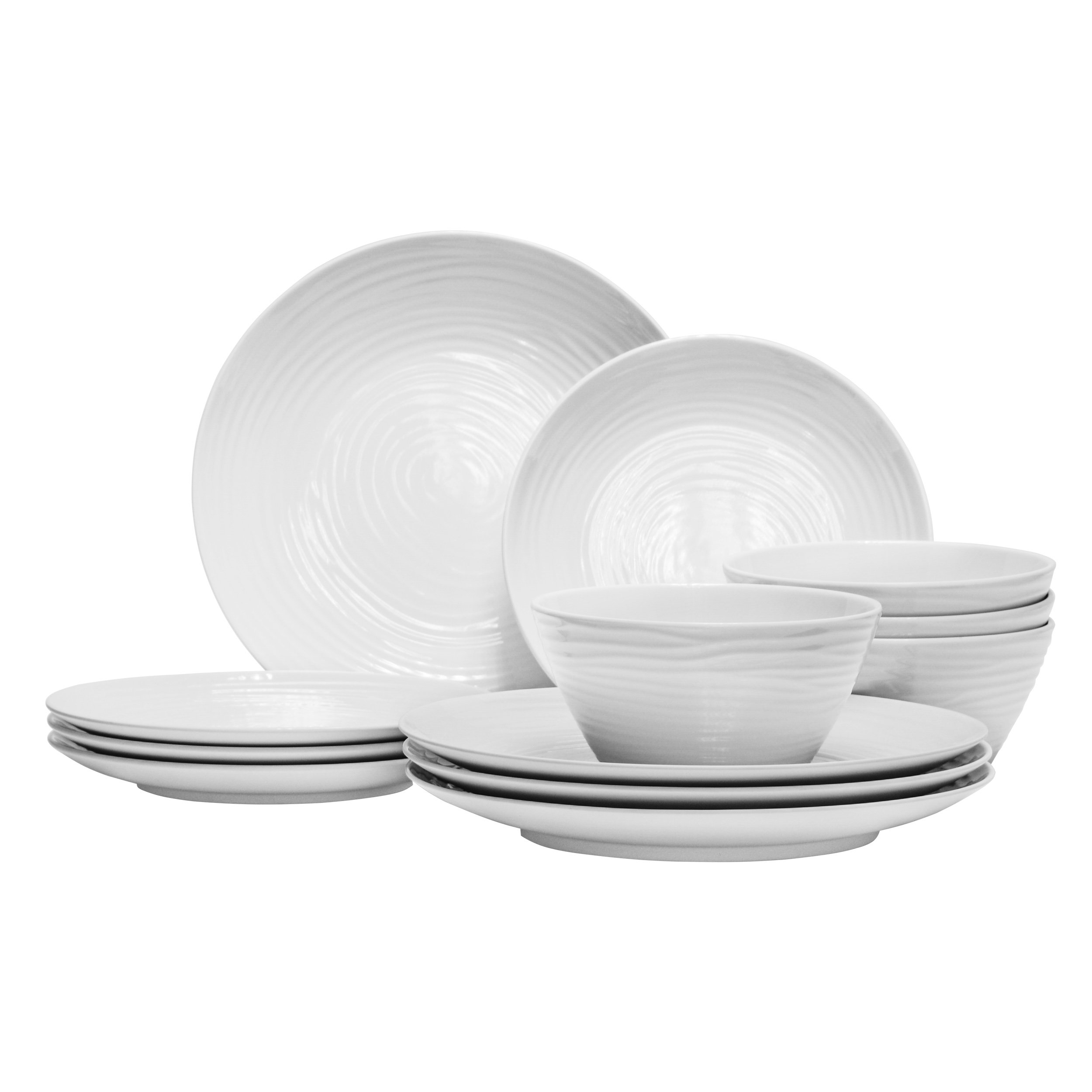 Parhoma White Melamine Home Dinnerware Set, 12-Piece Service for 4 by Parhoma (Image #5)