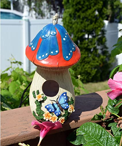 Amazon.com : Hand Painted Mushroom Birdhouse With Flowers And Butterfly,  Garden Decor : Garden U0026 Outdoor