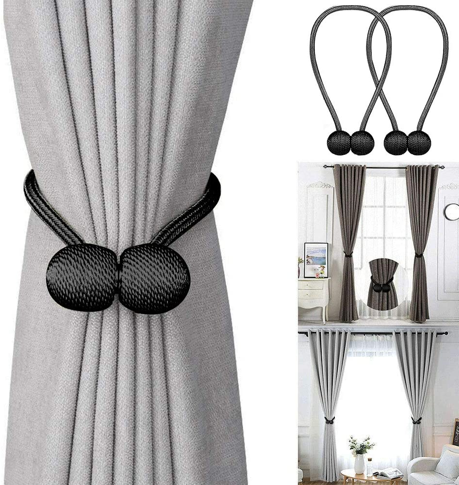 2 Pack Decorative Weave Rope Holder Holdbacks for Home Kitchen Office Window Sheer Drape 16 Inch Long Pro Space Magnetic Curtain Tiebacks Black