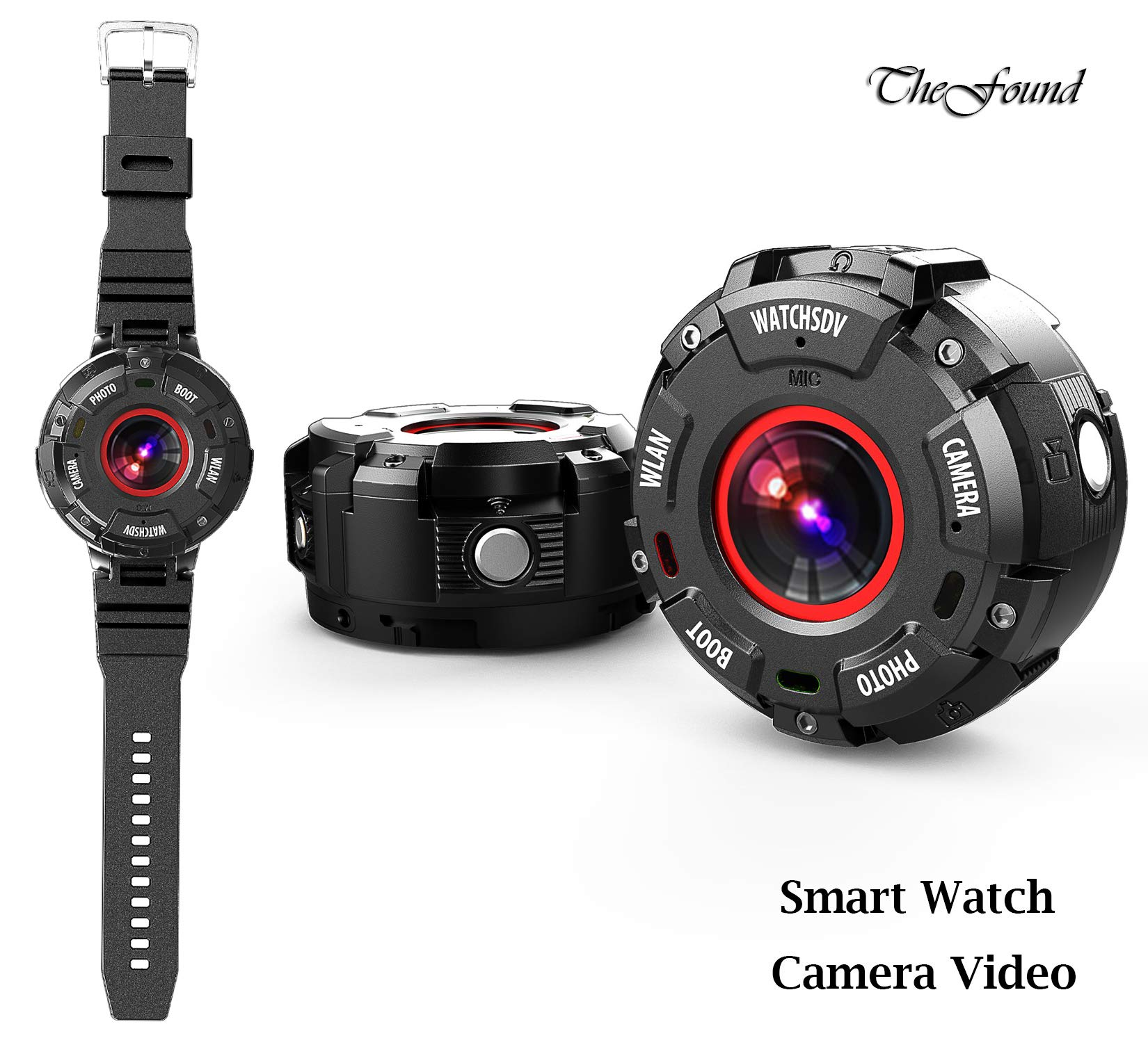 Smart Watch Camera Video Wearable Magnetic HD 1080P WiFi for Outdoor Sports Underwater (Black)