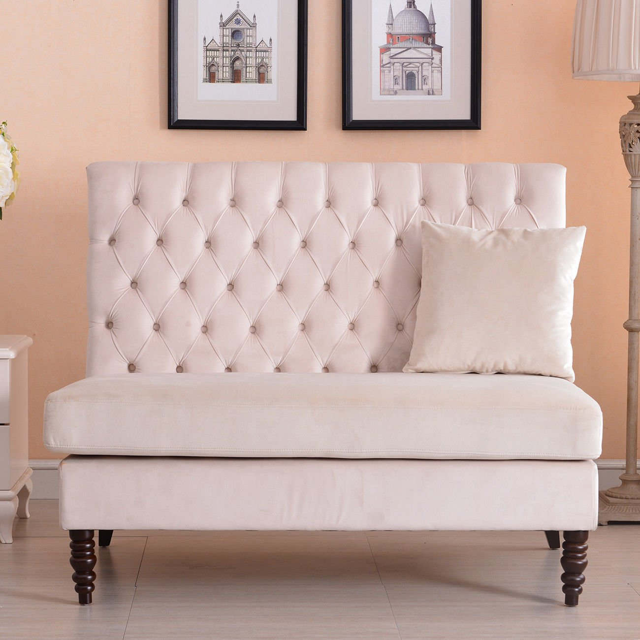 Loveseat Couch Sofa Upholstered Button Tufted Nailhead High Back Settee Beige