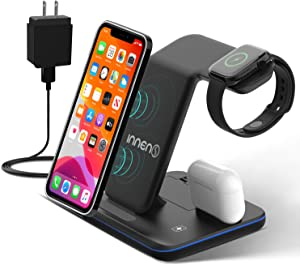 Innens 3 in 1 Wireless Charging Station for Apple, 15W Fast Wireless Charger with Adapter for iPhone 12/Mini/12 Pro/12 Pro Max/11 Pro Max/Xs Max/XS/XR, Galaxy Phone, Apple Watch 6/5/4/3/2/1, Airpods