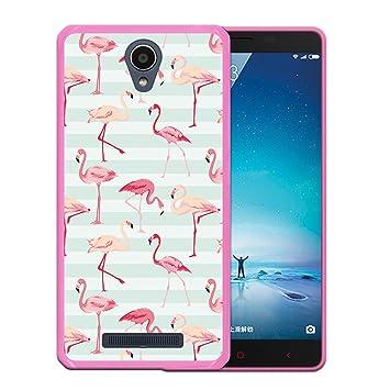 WoowCase Funda para Xiaomi Redmi Note 2, [Xiaomi Redmi Note 2 ] Silicona Gel Flexible Flamencos Retro, Carcasa Case TPU Silicona - Rosa