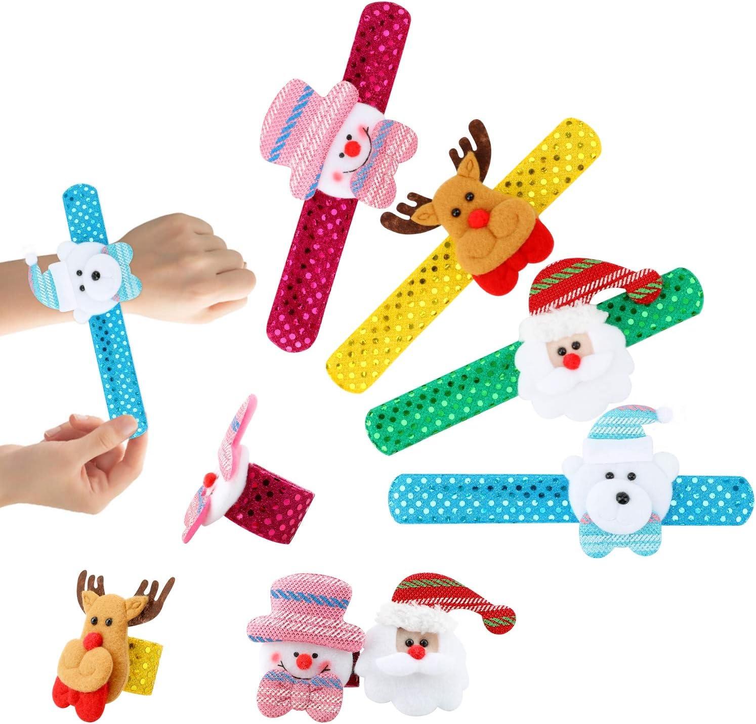 Hifot Christmas Slap Bracelets Party Favour Xmas Slap Band for Kids Party Bags Filler with Snowman Deer Bear Santa 4pcs Christmas Bead Maze Puzzle 6pcs for Girls /& Boys Christmas Stocking Fillers