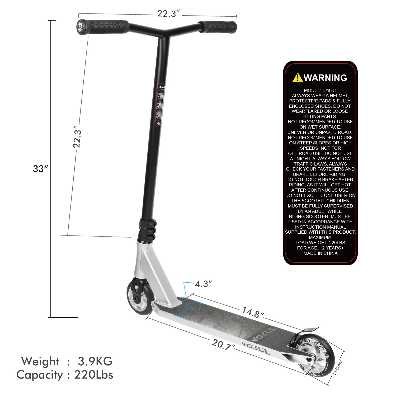 VOKUL K1 Complete Pro Scooter for Kids Boys Girls Teens Adults Up 7 Years - Freestyle Tricks Pro Stunt Scooter with 110mm Metal Wheels - High Performance Gift for Skatepark Street Tricks by VOKUL (Image #5)