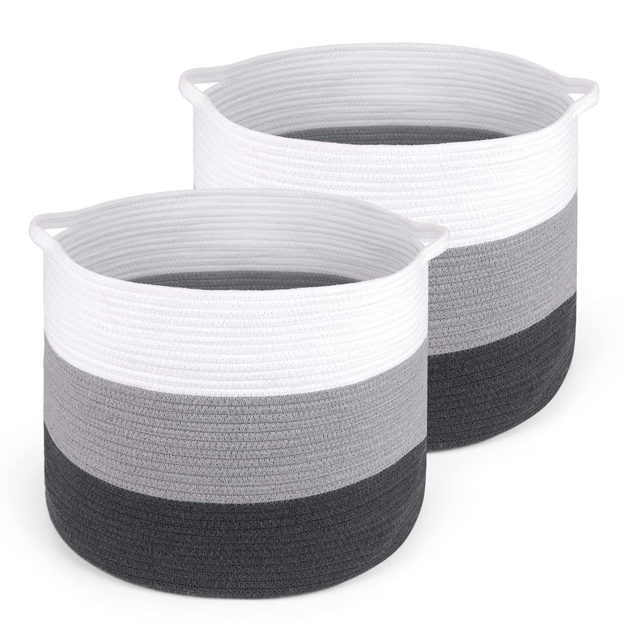 BAIST 2-Pack Large Cotton Rope Basket Fabric Laundry Storage Basket, Decorative Blanket Basket Foldable Cloth Storage Cube with Handles for Kids Dog Food Toys Nursery -18 x 18 x 14 in White Dark Gary