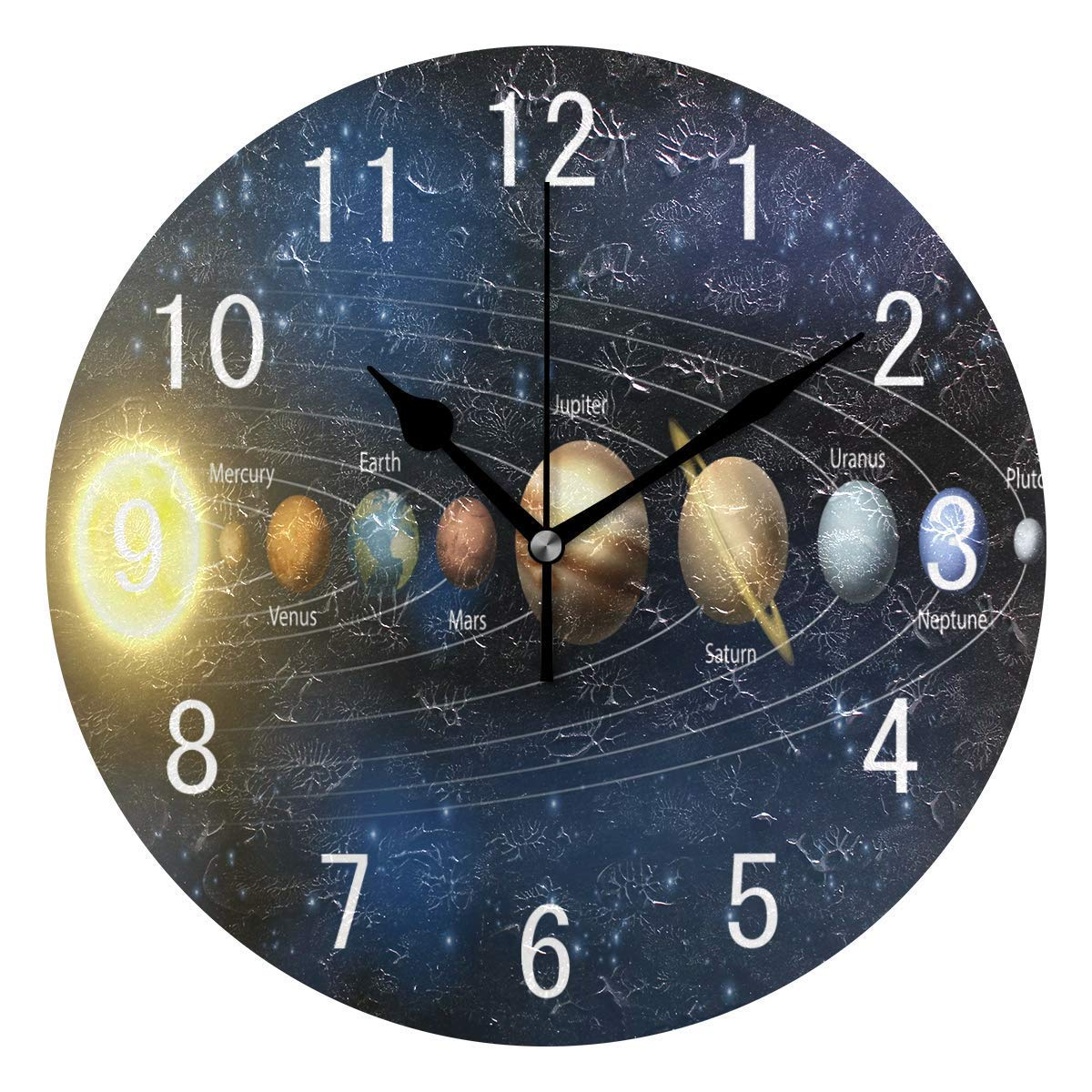 NMCEO Round Wall Clock Planet Solar Sytsem Universe Acrylic Silent Non-Ticking for Home Decor Creative