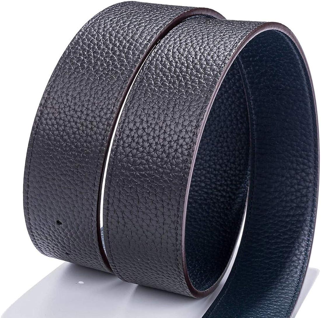34mm Vatees Reversible Mens Belt Strap Without Buckle Genuine Full Grain Leather Adjustable 1.34 Wide