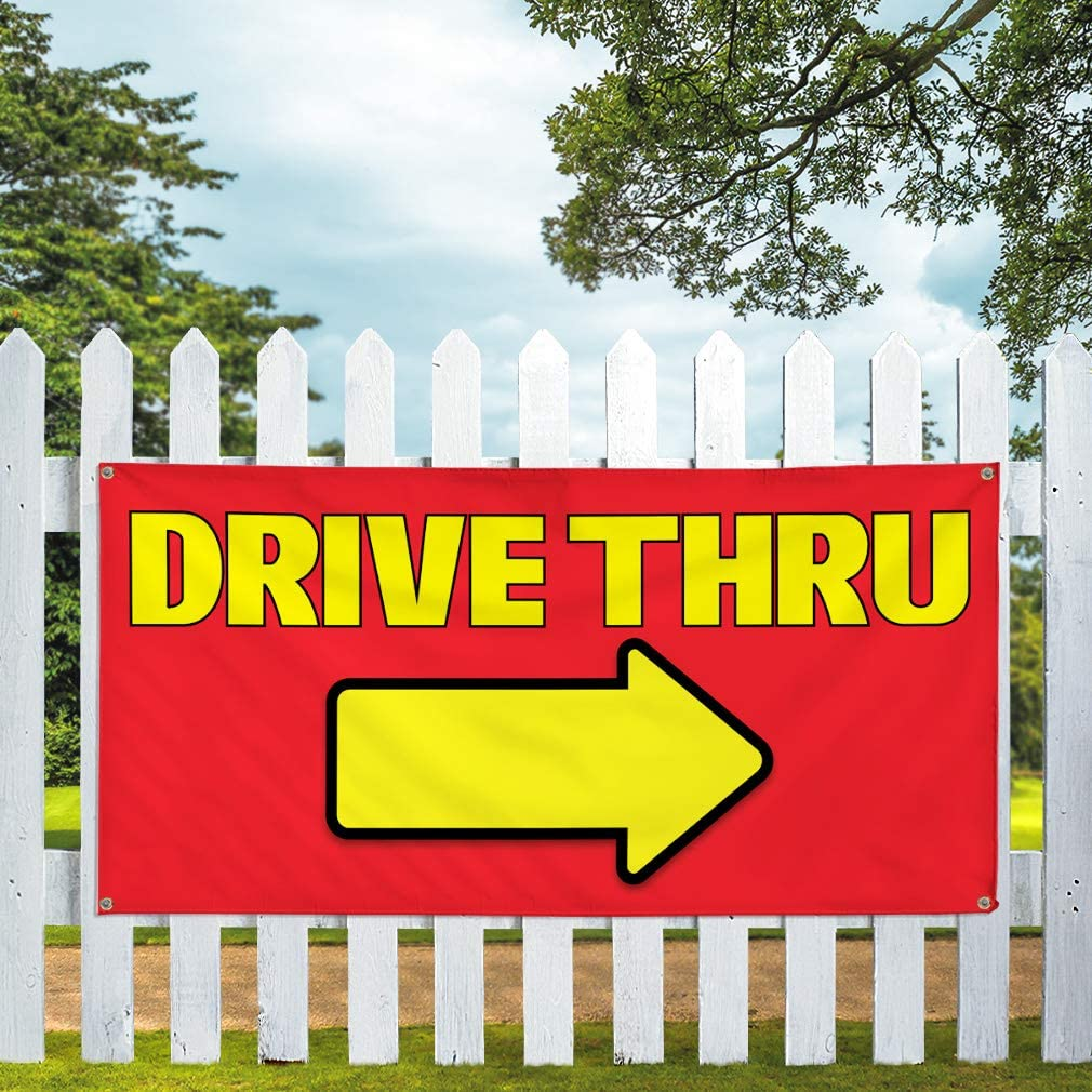 Vinyl Banner Multiple Sizes Drive Thru C Outdoor Advertising Printing Business Outdoor Weatherproof Industrial Yard Signs 8 Grommets 48x96Inches