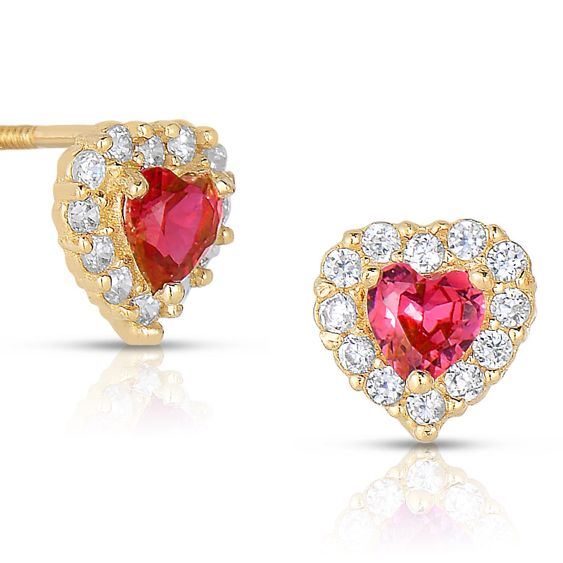 Tiny 14k Yellow Gold Heart Stud Earrings in Cubic Zirconia CZ Birth Month with Secure Screw Backs (Jul) by Art and Molly (Image #1)