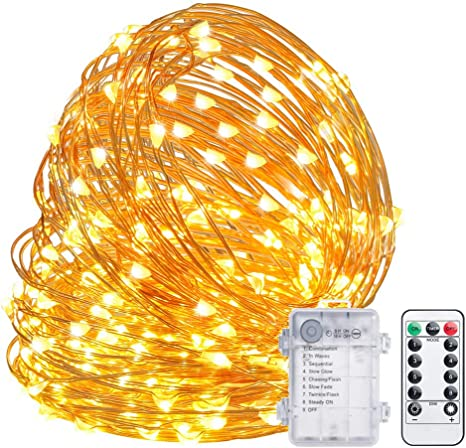 Battery Powered LED Copper Wire Fairy String Lights Remote Control Party Decor