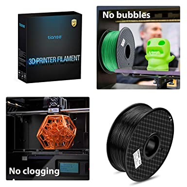 TIANSE TS-3D-BK-1 Black PLA 1.75mm Filament 3D Printer Dimensional Accuracy +/- 0.03 mm 2.2 Pound Spool