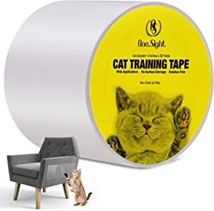 One Sight Cat Scratch Training Deterrent Tape, 4 Inches x 30 Yards(33% Wider) Cat Furniture Protector, Clear Double Sided Cat Couch Protector Cat Sticky Paws Tape for Furniture, Cat Anti-Scratch Pad