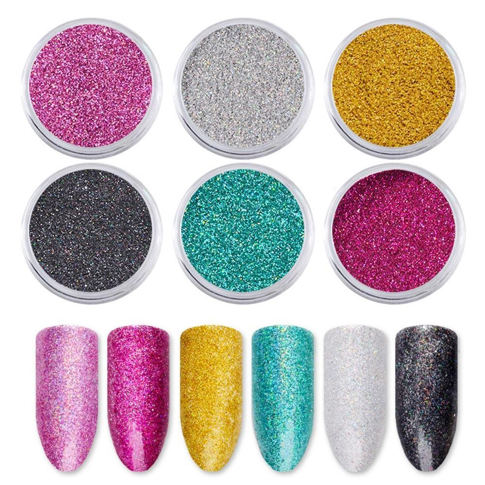 GSTONE 1Set Dust Sandy Decorations Nail Art Pigment fine DIY Manicure 6 Boxes/set Holographic laser nail powder toner powder nail powder sequins nail polish pink powder Nail Glitter
