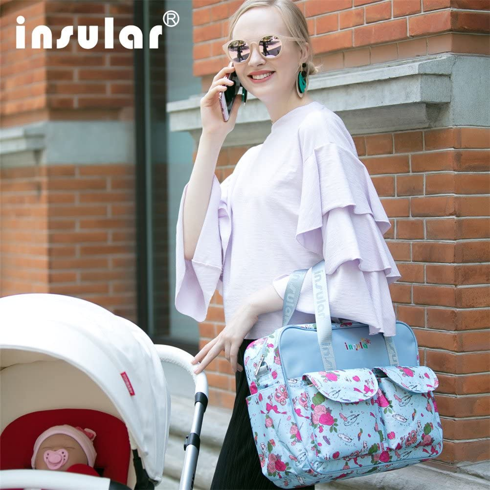 Adjustable Straps Animal Fun Insular Multifunctional Waterproof Mummy Shoulder Bag Diaper Bag Chic Nappy Changing Bag Tote//Messenger Style Large Light Weight with Changing Mat Color 2