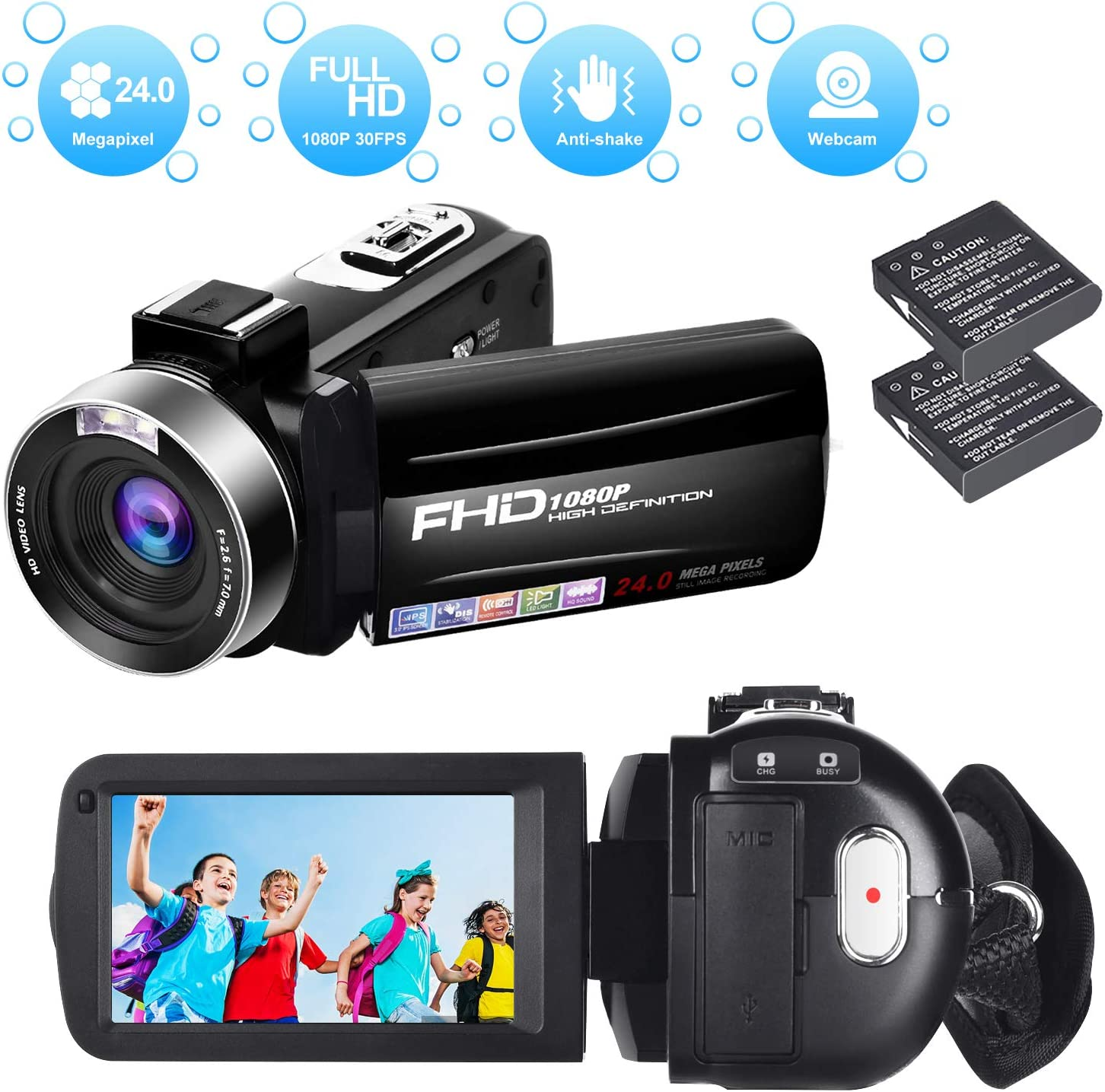 Videocámara Cámara de Video Full HD 1080P 30FPS Digital Videocamara Vlogging de Disparo Continuo de 24.0MP con Control Remoto y 2 Baterías