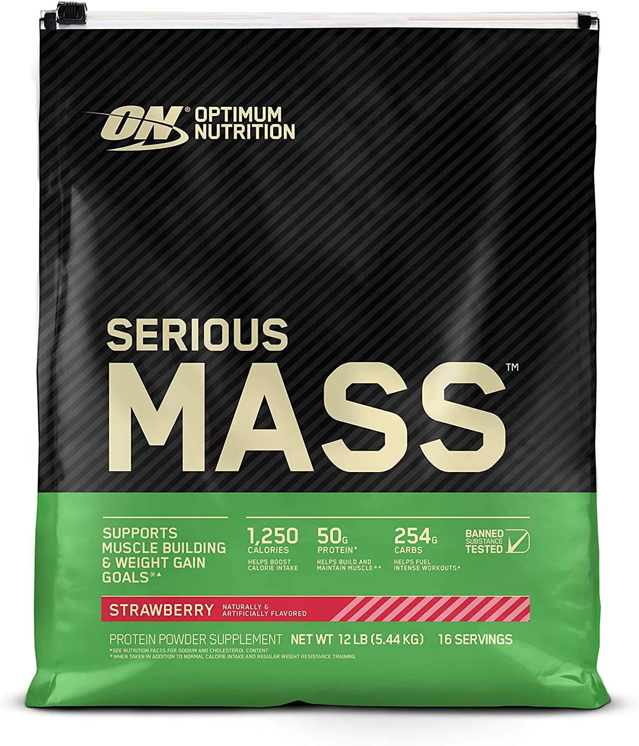 Optimum Nutrition Serious Mass Weight Gainer Protein Powder, Vitamin C, Zinc and Vitamin D for Immune Support, Strawberry, 12 Pound (Packaging May Vary)