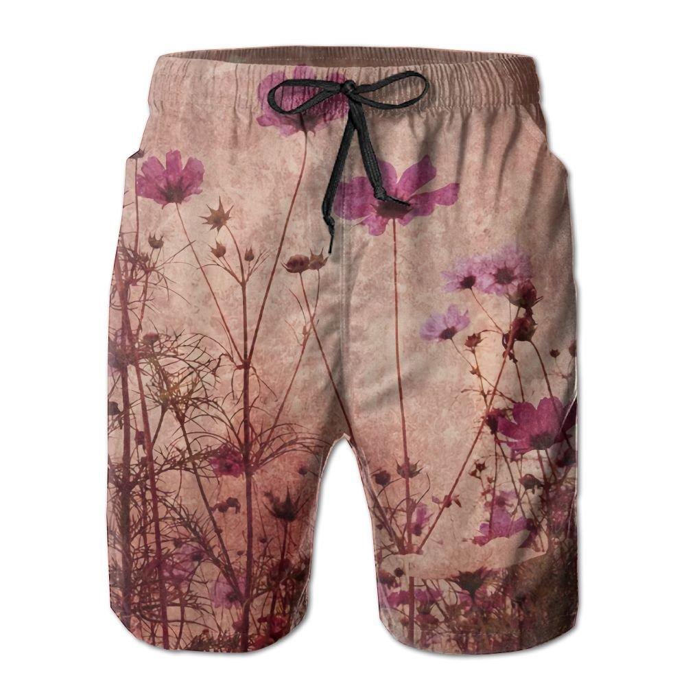 8c1d5ebe811f4 Beachsite Red Poppy Flower Beige Floral4 Men's/Boys Casual Swim Trunks Short  Elastic Waist Beach Pants With Pockets | Amazon.com