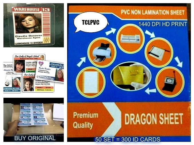 TCLPVC Dragon Sheet For I'D Card Tray, ID Card Plastic Sheets HD DPI 50+  100 Sheets A4