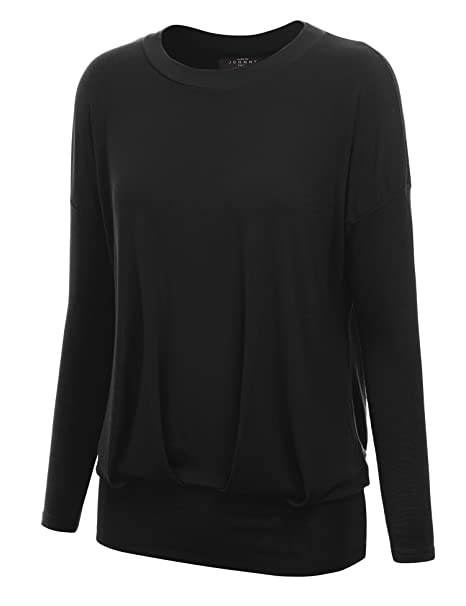d3661b7e11a Made By Johnny MBJ WT1183 Women s Long Sleeve Dolman Top with Shirring S  Black