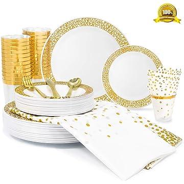 200 Piece Gold Lace Rim Dinnerware Set, 50 Plastic Plates - 25 Plastic Cups - 50 Napkins -75 Cutlery set, 25 Guest Disposable Gold Tableware Set (Bonus: 2 Pack Matching Plastic Tablecloths)