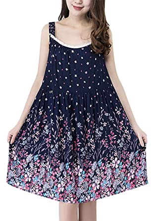 9f4670dc68 Summer Nightwear for Women Printed Cotton Sleeveless Pajama Lace Brim  Nightdress Soft Breathable Loose Sleepwear Night Gown Plus Size   Amazon.co.uk  ...