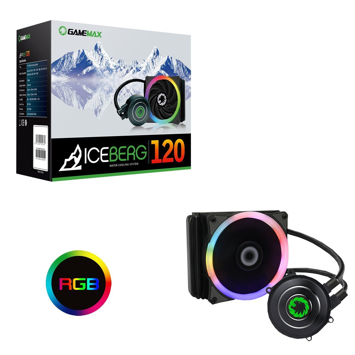 Game Max Iceberg 120 mm Water Cooling System with 7 Colour PWM Fan - Black