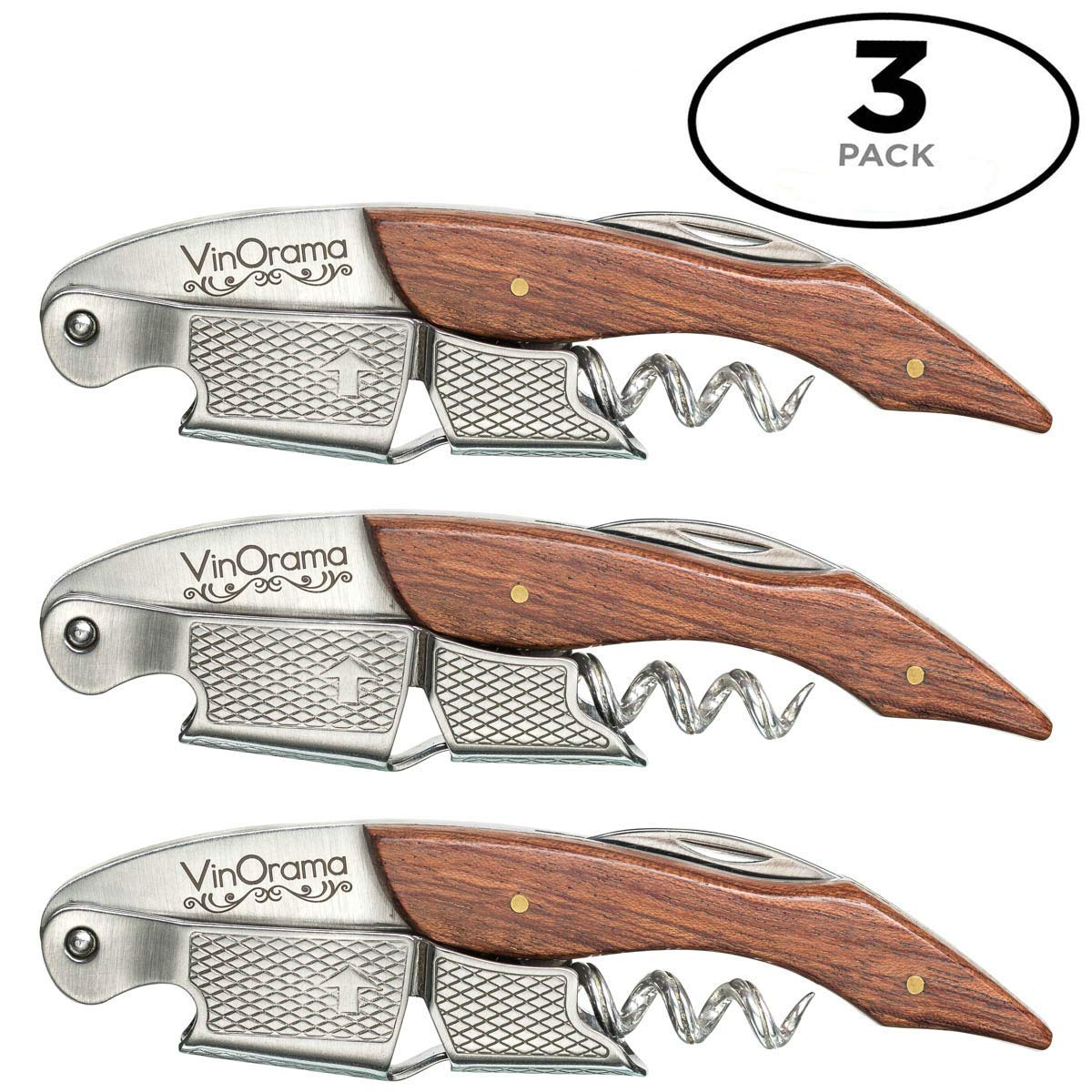 VinOrama Waiters Corkscrew Rosewood 3-in-1 Wine Opener, Beer Bottle Opener and Foil Cutter, The Best Choice of Professional Waiters and Bartenders Around the Globe