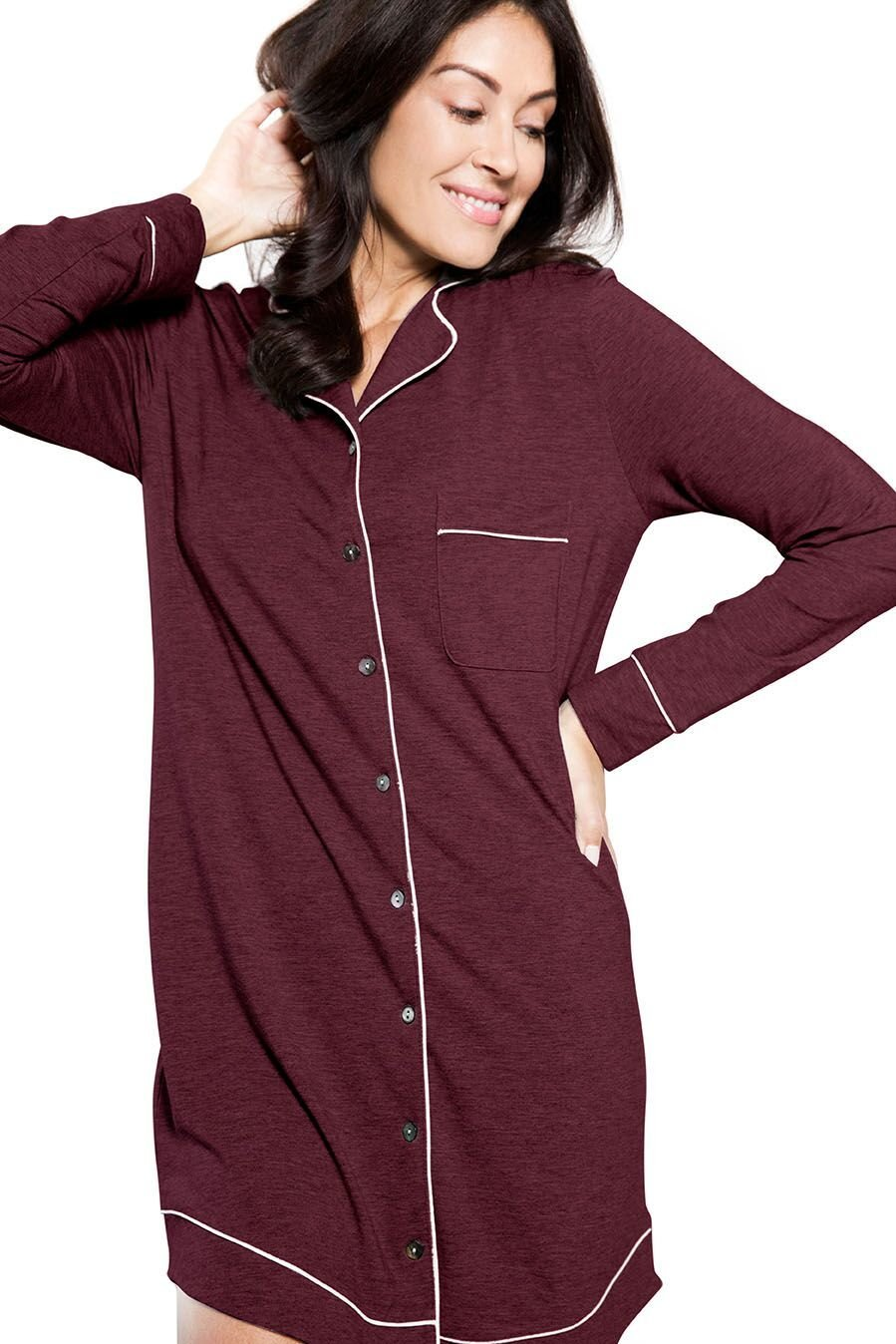 LUSOME Luxe Womens Marilyn Classic Long Sleep Shirt, Advanced Moisture Control With Xirotex, Sizes XS-XL