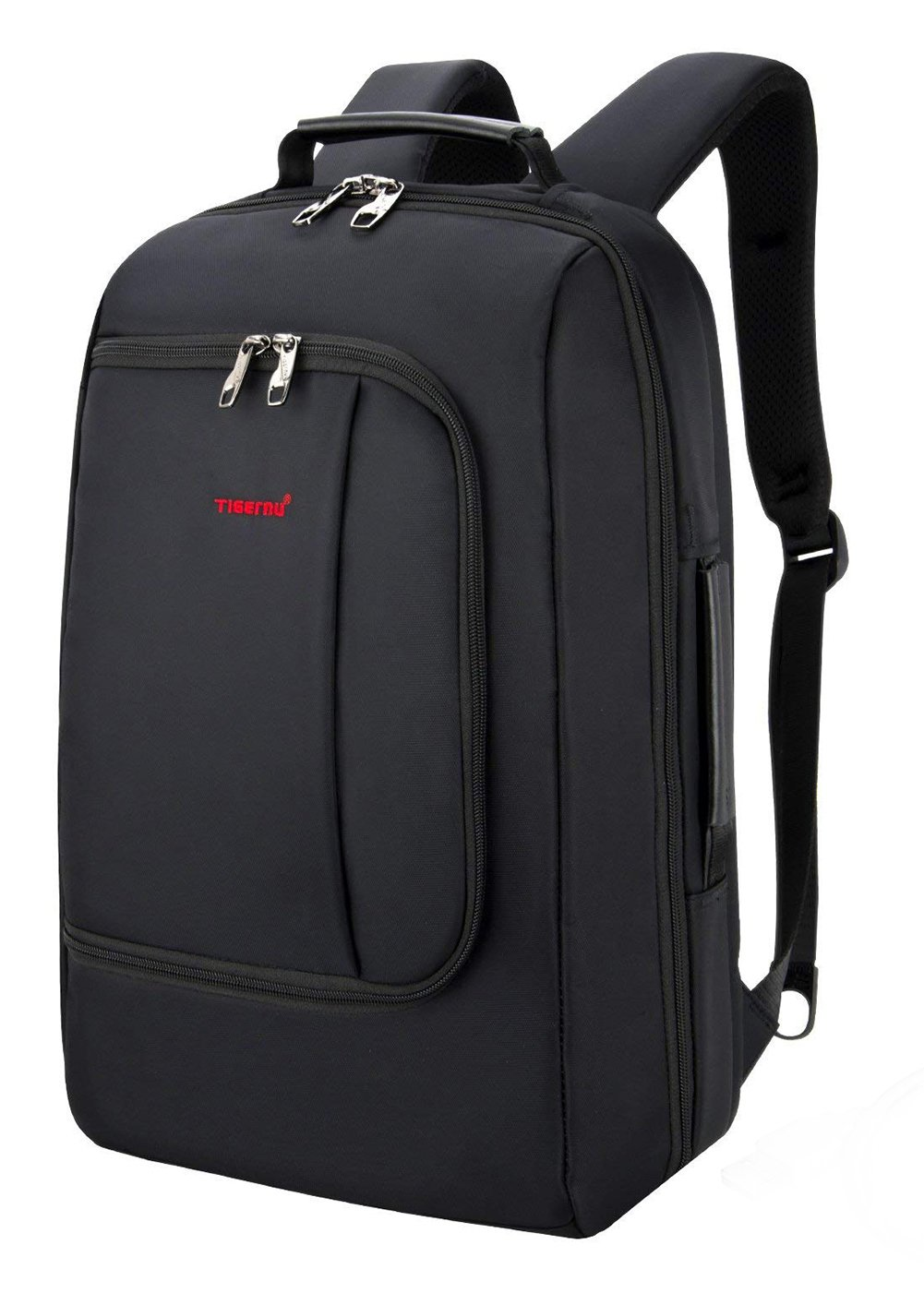 TIGERNU Slim Business Backpack with USB Charging Port Convertible Water Resistence Carry on Travel Bag with Luggage Strap Fits 15 15.6 Inch Laptops For Men Women Black