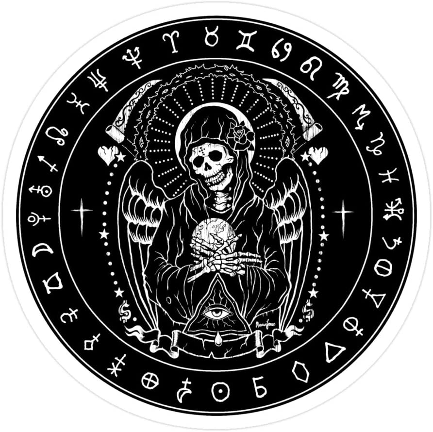 Sneaky Cover (3 PCs/Pack) Holy Death Santa Muerte 3x4 Inch Die-Cut Stickers Decals for Laptop Window Car Bumper Helmet Water Bottle