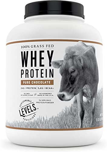 Levels 100 Grass Fed Whey Protein, No GMOs, Pure Chocolate, 5LB