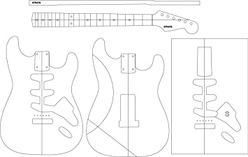 Electric Guitar Routing Template STRATS Amazoncouk Musical - Guitar routing templates