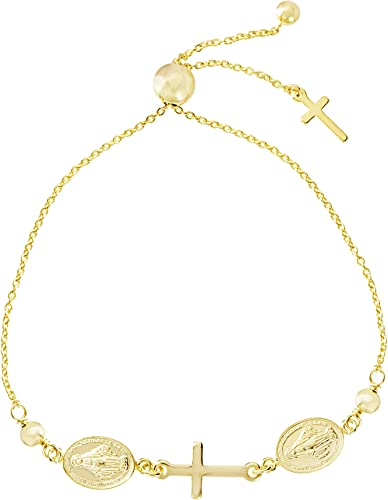 "8/"" Adjustable Sterling Silver Miraculous Medal Dangle Cross Rosary Bracelet 7/"""