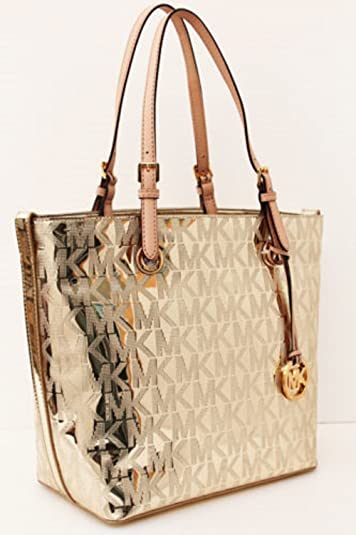 cd0ebf6ff582 Michael Kors Jet Set Mirror Metallic Tote Grab Bag Pale Gold: Handbags:  Amazon.com