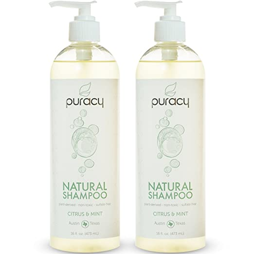 Puracy Natural Daily Shampoo, Sulfate Free Cleanser, Developed by Doctors Using Clinically Superior Ingredients, Citrus and Mint, 16 Ounce Bottle, (Pack of 2)
