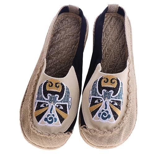 F Fityle Zapatillas de Plataforma Lino Transpirable Mocasines Pantuflas de Estar por Casa Estilo Étnico EU 37-40: Amazon.es: Zapatos y complementos