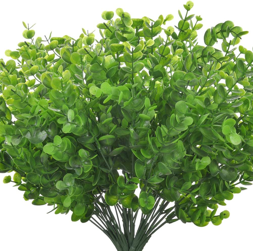 MXKTA Artificial Fake Flowers, 6 Bundles Large UV Resistant Faux Plastic Greenery Foliage Plants Shrubs for Garden, Wedding, Outside Hanging Planter, Farmhouse Indoor or Outdoor etc Decor