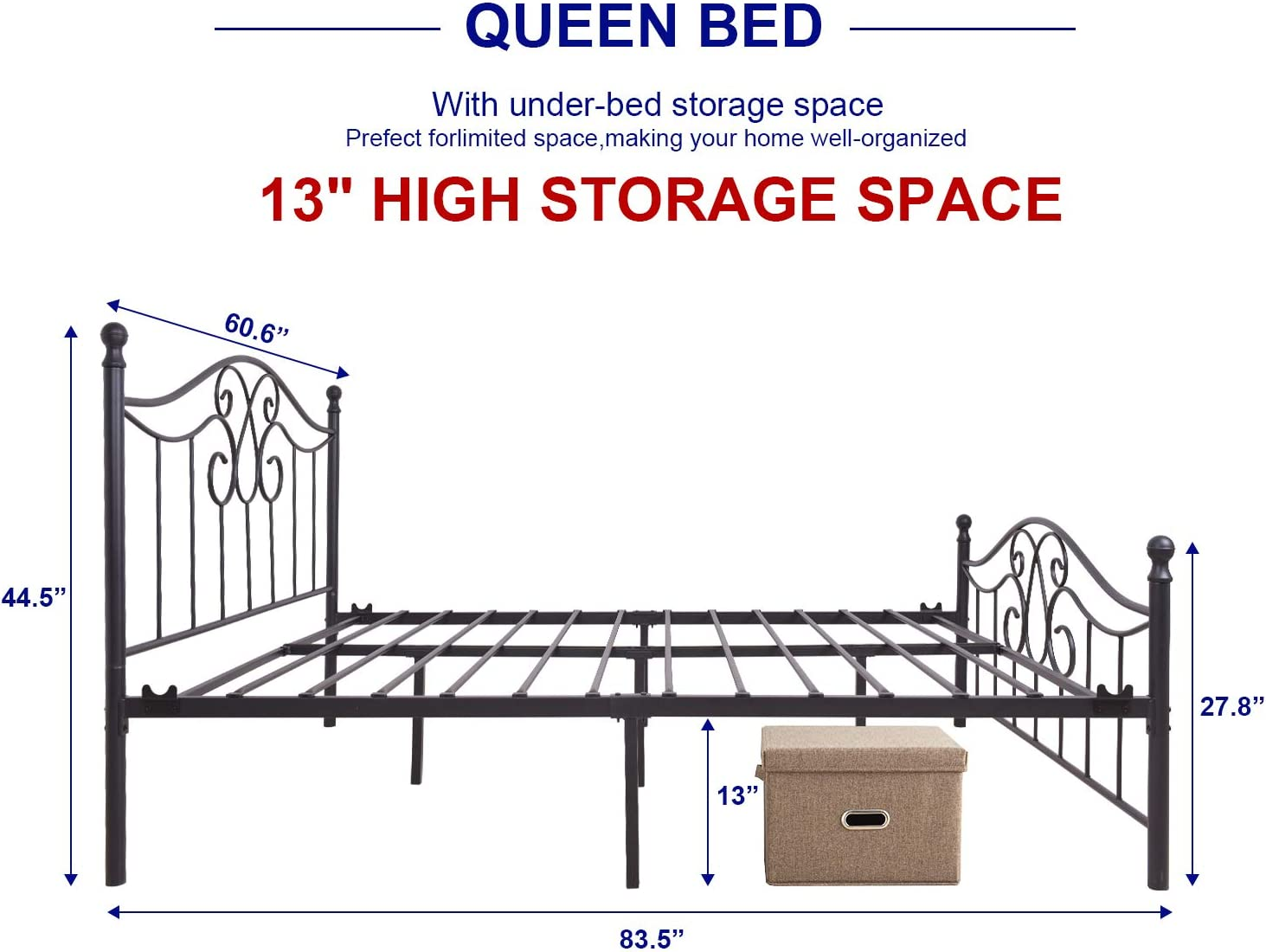 Metal Bed Frame Queen Size with Vintage Headboard and Footboard Platform Base Wrought Iron Bed Frame Black