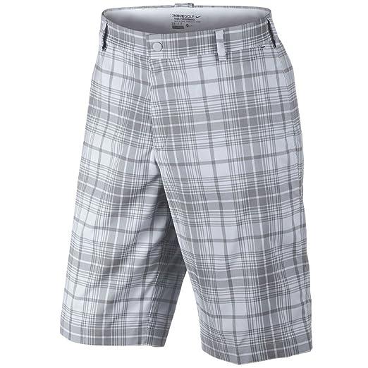 timeless design f6ce5 c3823 Amazon.com   Nike Golf Dri-FIT Flat Front Plaid Shorts Stadium Grey Night  Stadium 28   Clothing
