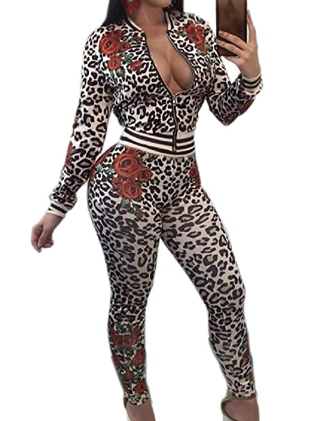 19a3999e4ac Comfy Women Vogue Leopard Print Two Piece Zipper Cardigan Club Active Wear  Leopard XS