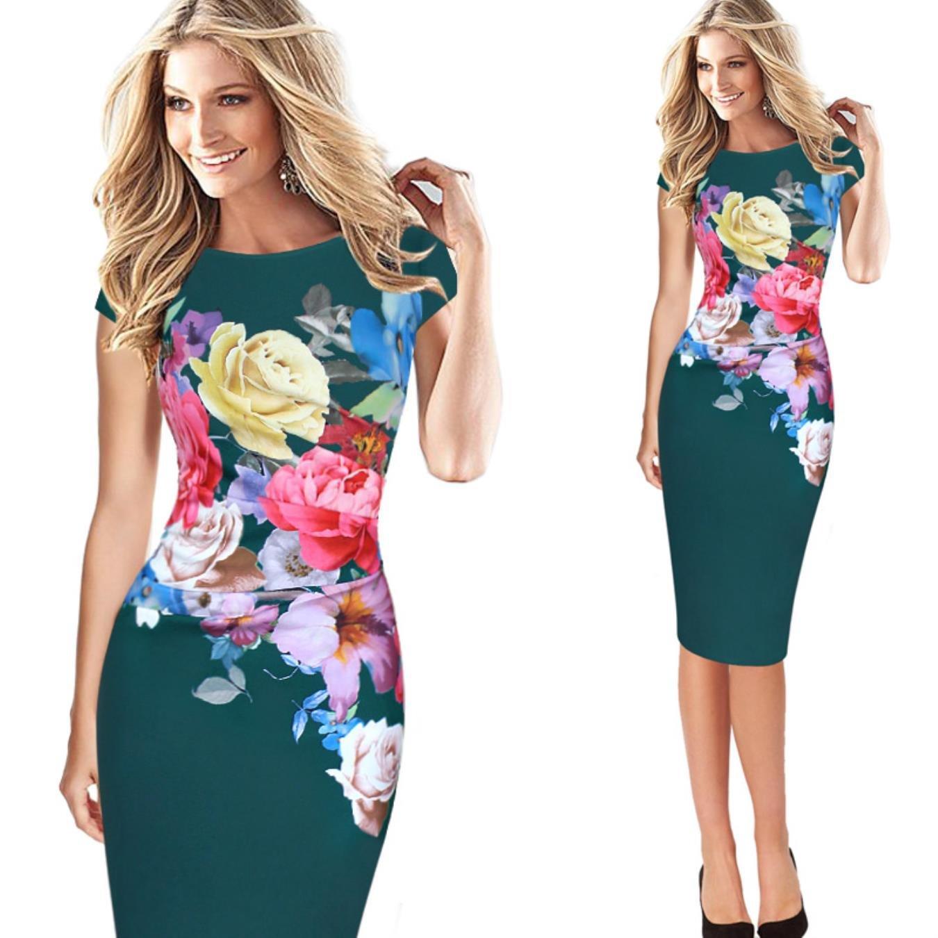 Dark Green NJSBPG Womens Elegant Flower Floral Printed Ruched Cap Sleeve Ruffle Casual Dress