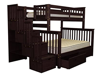 Lovely Bedz King Stairway Bunk Beds Twin Over Full With 4 Drawers In The Steps And  2