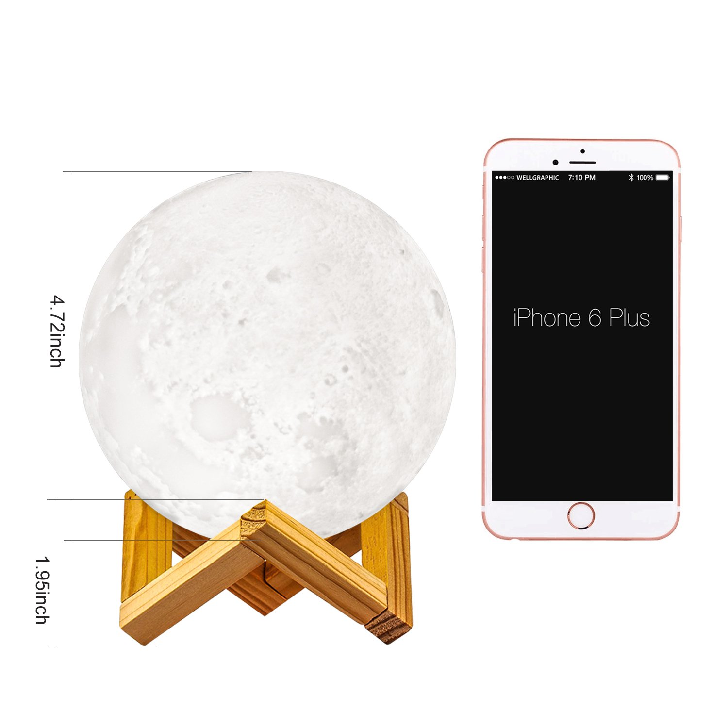 GDPETS Moon Lamp, 3D Printing Moon Night Light, Touch& Remote Control 16 Color Decorative Light(4.7 Inch) by GDPETS (Image #3)
