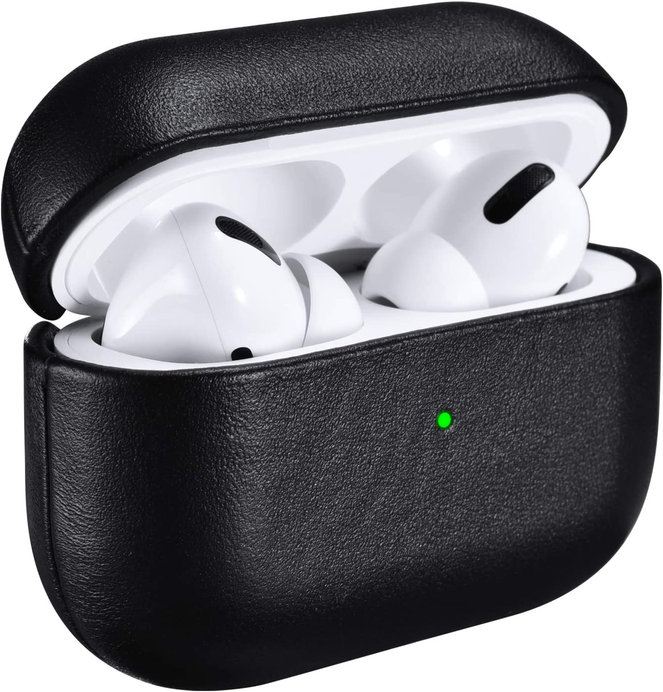 ICARERSPACE Compatible with AirPods Pro Case, Handmade Genuine Leather Protective Cover Case for Apple AirPods Pro Charging Case [Front LED Visible] [Support Wireless Charging] - Black