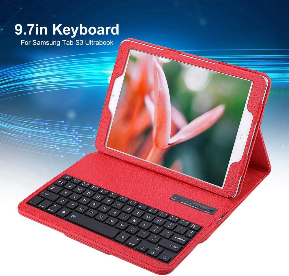 Funda para teclado de tableta Samsung Tab S3, PU de respuesta rápida FN Media Key Bluetooth Split Keyboard Cover Stand